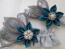 wedding photo - Dark Teal & Silver Wedding Garter Set, Gray Peacock Garters, Oasis Teal Garters, Teal Prom Garter, Something Blue