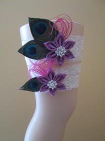 wedding photo - Radiant Orchid Wedding Garter Set, Peacock Garters, Ivory Lace Bridal Garter, Pink & Purple Orchid, Rustic-Vintage- Country Bride