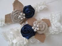 wedding photo - Navy Blue Lace Wedding Garter Set, Midnight Blue Garter, Ivory Lace Bridal Garters, Rustic Burlap Garter, Shabby, Vintage- Country Bride