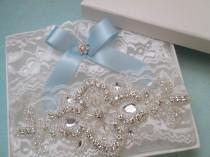 wedding photo - White Lace Wedding Garter Set, Rustic Lace Bridal Garter, White Lace Prom Garters, Rhinestones, Something Blue, Rustic- Country Bride