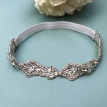 wedding photo - Crystal Wedding Garter NO SLIP grip vintage rhinestones, custom garter, simple garter, rhinestone garter
