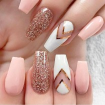 wedding photo - Pink And White Nail Art