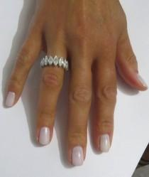 wedding photo - Marquise Cut Diamond Platinum Eternity Band Ring