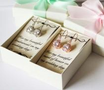 wedding photo - Bridesmaids earrings, Rose gold earrings, Cubic Zirconia earrings, Bridal earrings, Bridal gold earrings, Bridesmaids gifts,  CZ earrings