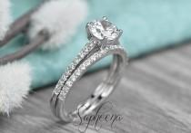 wedding photo - Brilliant Round Cut Engagement Ring with Half Eternity Band, Solid 14k White Gold, Set of 2, Dainty Wedding Set, Bridal Set of 2 by Sapheena