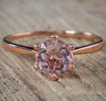 wedding photo - Bestselling Morganite Engagement Ring on Sale: 1 Carat Morganite Solitaire Engagement Ring in Rose Gold