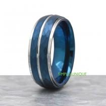 wedding photo - Blue Tungsten Promise Ring, Trendy Mens Unique Engagement Ring, Hammered Wedding Band Mens, Mesn Blue Ring, Mens Blue Wedding Ring Band