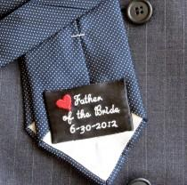 wedding photo - WEDDING TIE PATCH, Label, Groom, Father of the Bride/Groom, Several Designs, Custom Available, Satin Polyester Ribbon, 1 1/2 x 2 3/8 inches