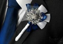 wedding photo - Silver Buttonhole, Wedding Buttonhole, Boutonniere, Mens Wedding Boutonniere, Lapel Pin, Mens Lapel Pin, Silver Lapel Pin, Prom Lapel, Groom