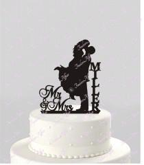 wedding photo - Wedding Cake Topper Silhouette Couple Mr & Mrs Personalized with Last Name, Acrylic Cake Topper [CT18mm]
