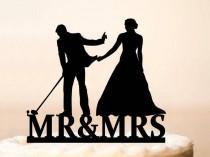 wedding photo - Wedding Cake Topper,Golf Wedding Cake Topper,Bride Pulling Groom,Cake Topper Golf,Lover Ever Golf Cake Topper,Bride & Groom Golf Theme 1089