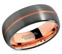 wedding photo - GUNMETAL Tungsten Ring Rose Gold Black Wedding Band Ring Tungsten Carbide 8mm 18K Ring Man Wedding Band Male Women Anniversary Matching
