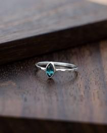 wedding photo - Blue Tourmaline Ring, White Gold Ring, Minimalist Ring, Faceted Gemstone Ring, Engagement Ring Gold, Simple Ring, Stackable Ring