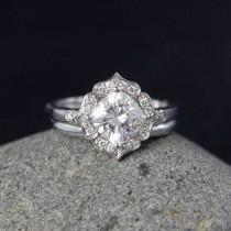 wedding photo - Vintage Flower Halo - Scallop Halo - Forever One Cushion Cut Engagement Ring - Wedding Set