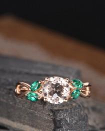 wedding photo - Engagement Ring Rose Gold Morganite Ring Lab Emerald Marquise Leaf Vine Floral Flower Infinity Split Shank Band Bridal Anniversary Women