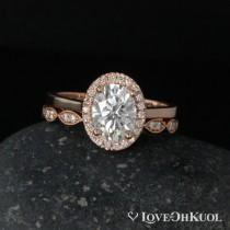 wedding photo - Rose Gold Oval Moissanite Engagement Ring - Scalloped Diamond Band - Wedding Ring Set