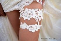 wedding photo - Off White Garter, Wedding Garters,  Lace Garters,  Bridal garters,  Garter Sets, Bridal  Accessories, Flower Garters,  Wedding garter Belt