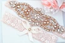 wedding photo - BLUSH PINK Rose Gold Crystal pearl Wedding Garter Set, Stretch Lace Garter, Rhinestone Crystal Bridal Garters