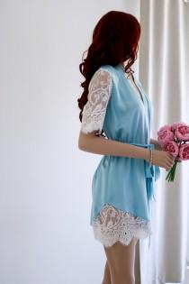 wedding photo - Silk & Lace Robe/ Bridal Robe/ Gift for Her/ Short Silk Robe/ Short Night Gown/ Lace Sleeve Robe/ Christmas Gift