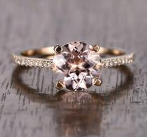 wedding photo - Limited Time Sale: 1.25 Carat Peach Pink Morganite  (Round cut Morganite) and Diamond Engagement Ring in 10k Rose Gold