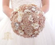 wedding photo - Champagne rose gold BROOCH BOUQUET. Ivory, beige, cream broach boquet. Jeweled crystal flowers weding bridal bouquet by Memory Wedding
