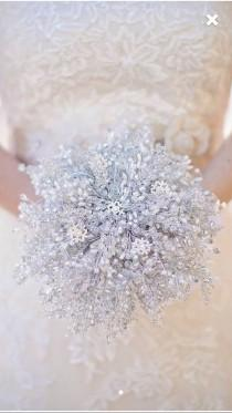 wedding photo - IVORY SNOWFLAKE BOUQUET, Extra large Brides bouquet, winter wedding, silver bouquet, beaded bouquet, brooch bouquet, wedding bouquet,