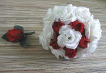 wedding photo - White Rose Bouquet, Red Rose Bridal Bouquet and Boutonniere