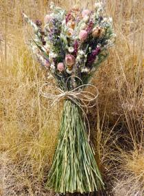 wedding photo - Dusty Pink, White Sage, Lavender, Blush, Eggplant Bridal Wedding Brides Bridesmaids Bouquet Summer Natural Rustic Dried Flowers
