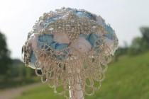 wedding photo - Cinderella brooch bouquet, brooch bouquet, cinderella bouquet, brooch bouquet, butterfly brooch, white brooch bouquet, blue bouquet