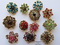 wedding photo - 12 Rhinestone Button Antique Bronze Brooch Lot Brass Multi Color Pin Mixed Wholesale Crystal Wedding Bouquet Brooch Bridal Hair Cake DIY Kit
