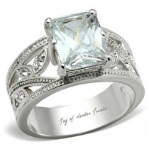 wedding photo - A Perfect 4.9CT Emerald Cut Russian Lab Diamond Floral Engagement Anniversary Ring