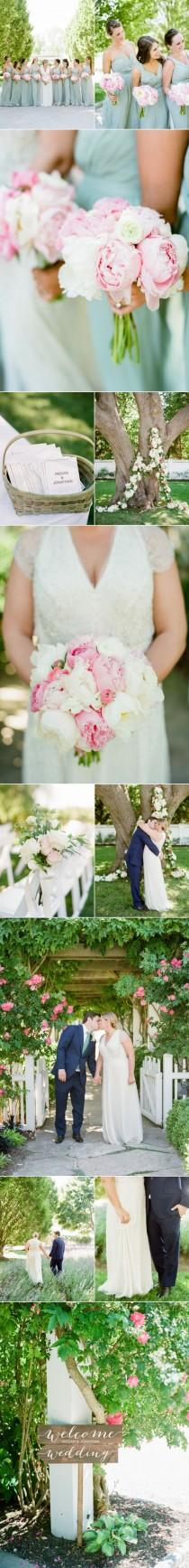 wedding photo - A Classic Vineyard Wedding Loaded With Pink Peonies