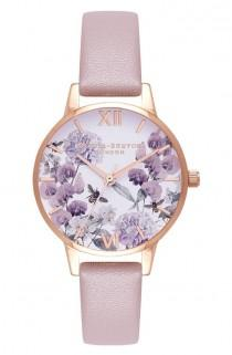 wedding photo - Bee Floral Faux Leather Strap Watch, 30mm