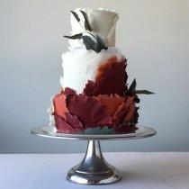 wedding photo - Burgundy And White Cake