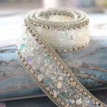 wedding photo - Luxury rhinestone trim , bridal wedding belt trim, crystal beaded trim