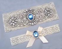 wedding photo - Wedding Garter Set, Crystal Rhinestone Pearl Keepsake / Toss Garters, Something Blue, Off White / Ivory Stretch Lace Bridal Garter