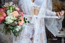 wedding photo - Bridal Short Robe Lace, Chantilly Lace Robe, Lace Bridal Robe, Lace Sleeve Robe, Embroidered Lace Bridal Robe,  French Lace Wedding Robe