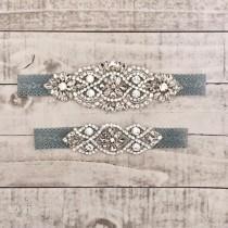 wedding photo - Something Blue Bridal Garter, NO SLIP Lace Wedding Garter Set, bridal garter set, vintage rhinestones, pearl and rhinestone garter set