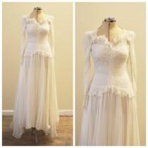 wedding photo - Vintage Bridal 1930's floral lace and chiffon wedding gown
