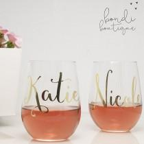 wedding photo - Custom Wine Glasses Gold Foil