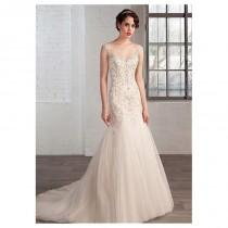 wedding photo - Elegant Tulle V-neck Neckline A-line Wedding Dresses with Beaded Embroidery - overpinks.com