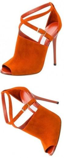 wedding photo - Orange Suede-like Peep Toe Stiletto Heels