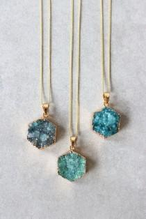 wedding photo - Druzy Hex Necklace