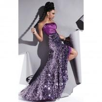 wedding photo - Purple/Silver Studio 17 12370 - Crystals High Slit Sequin Dress - Customize Your Prom Dress