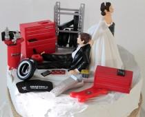 wedding photo - Humorous Wedding Cake Topper, Funny Mechanic Grooms Cake Topper, Unique Bride and Groom Cake Topper