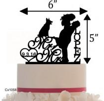 wedding photo - Wedding Customized Cake Topper , Silhouette with Dog of your choice or any pet  - Wedding Sign Table Display.