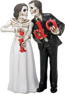 wedding photo - Halloween Wedding Cake Toppers-Love Never Dies Bride and Groom I DO - Skull Lovers Just Married Goth Romantic Fall Weddings Skeleton Couple