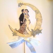 wedding photo - Wedding Cake Topper, Great Gatsby, Art Deco, Bride and Groom, Sterling Silver Glitter, Moon