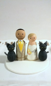 wedding photo - Cake Cuties- Custom Wedding Cake Toppers, plus two Animal Friends