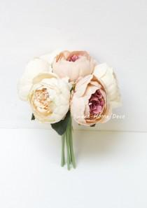 wedding photo - JennysFloweShop 11'' Silk Peony Artificial Flower Bouquet Wedding/Home Decorations (7 Stems/7 Flower Heads)Blush Pink